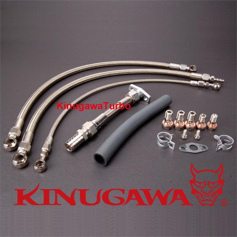 Kinugawa Turbo Oil /& Water Line Kit Fit Skyline R30 DR30 FJ20ET w//Garrett GT2860RS